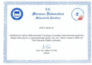Award letter from the dean of Marmara University Faculty of Engineering