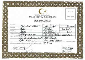 High school diploma - Icel Mersin Anatolian High School
