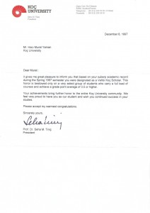 Award letter from the president of Koc University